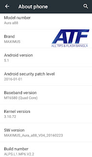 MAXIMUS AURA A88 (ALPS L1 MP6 V2 2) FLASH FILE MT6580