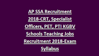 AP SSA Recruitment 2018-CRT, Specialist Officers, PET, PTI KGBV Schools Teaching Jobs Recruitment 2018-Exam Syllabus