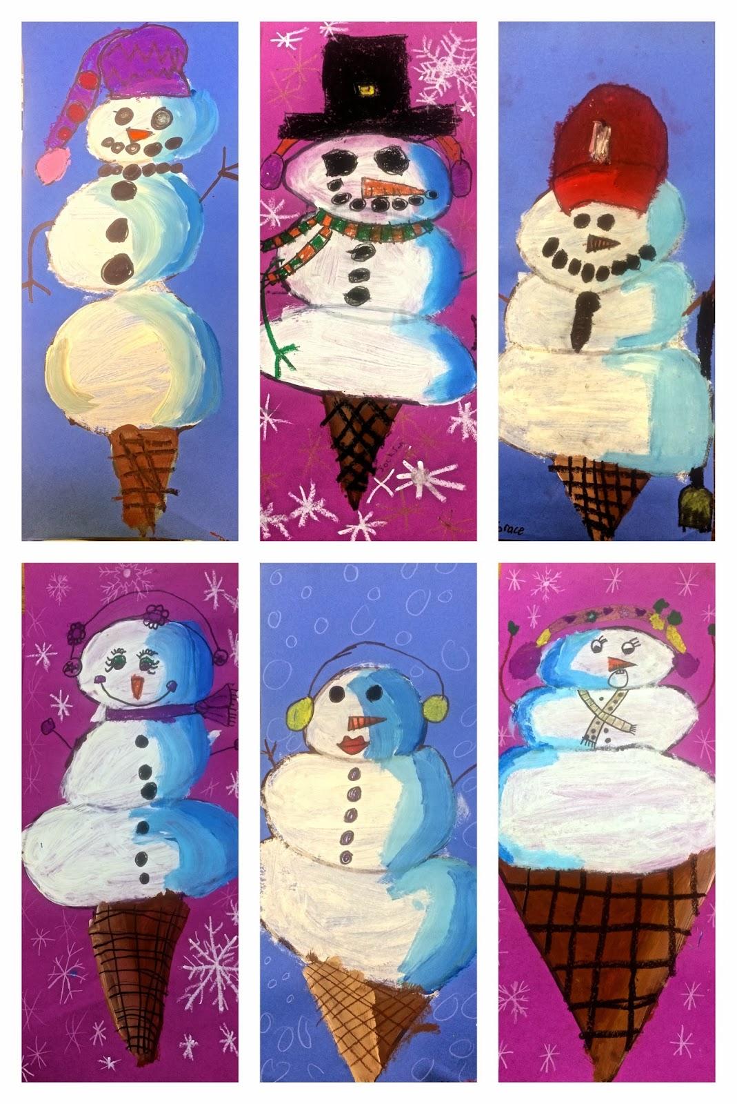 Art Eat Tie Dye Repeat 2nd Grade Snowman Scoops