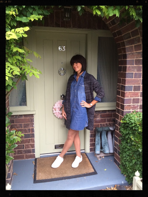 My Midlife Fashion, Denim Dres, Knitted Cardigan, White Leather Trainers