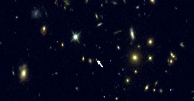 UCLA astronomy graduate student Ryan Sanders discovered a way to precisely measure oxygen in distant galaxies like COSMOS-1908, indicated by the arrow. Credit: Ryan Sanders and the CANDELS team