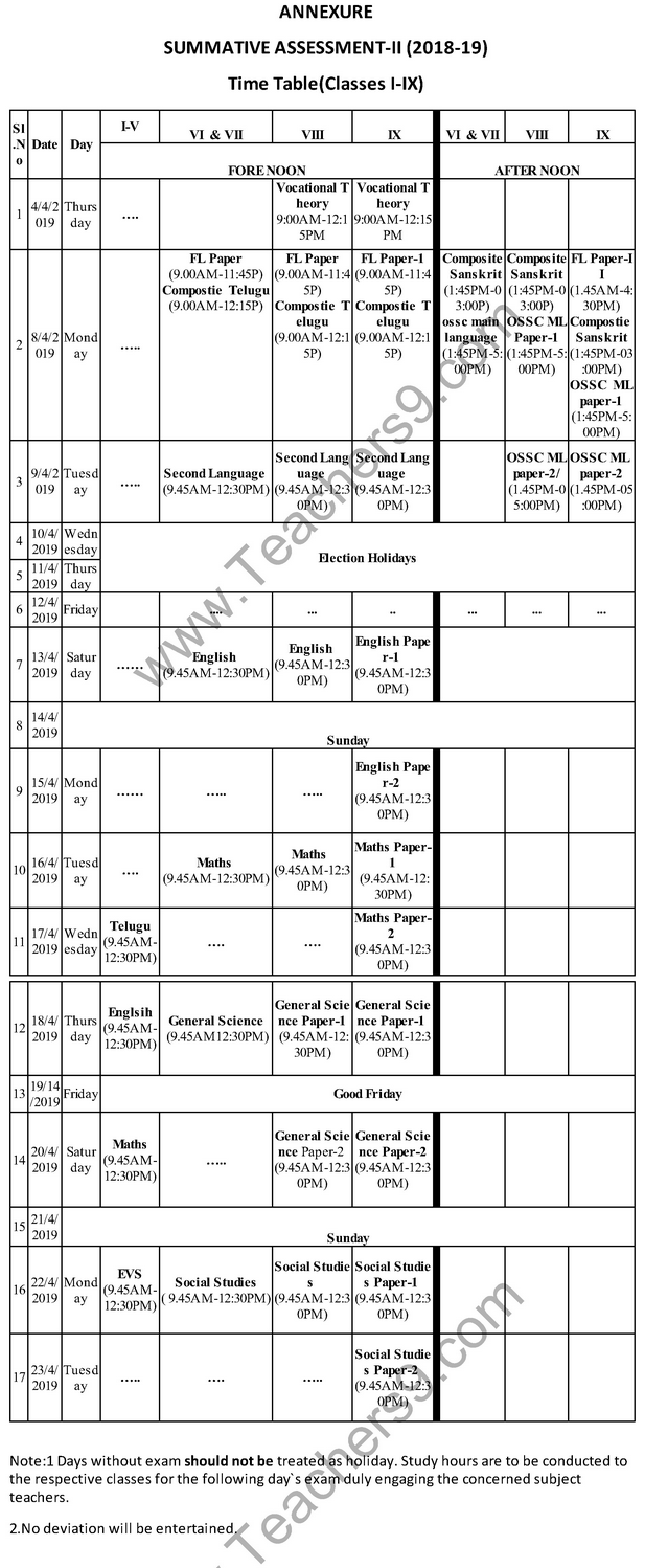Summative Assessment Exam Time Table - April 2019