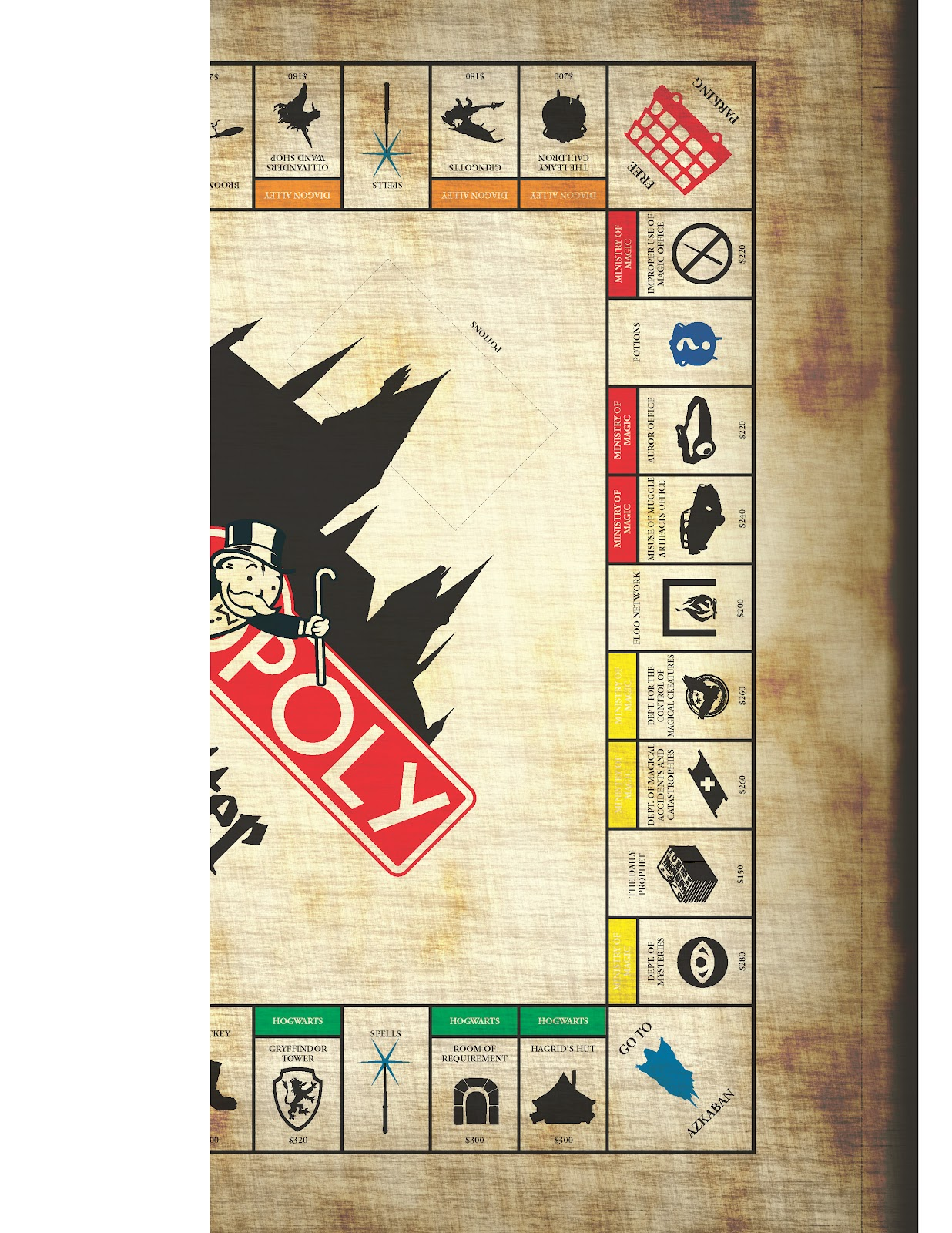 Design technology education how to make harry potter for Custom monopoly board template