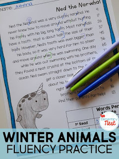 Winter Fluency for 2nd and 3rd grade readers plus a few FREEBIES- blog post highlighting hands-on activities for kids