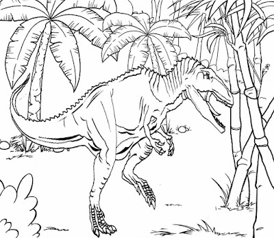 Wild early Jurassic planet tropical bamboo plant scenery monster dinosaur's life like coloring pages