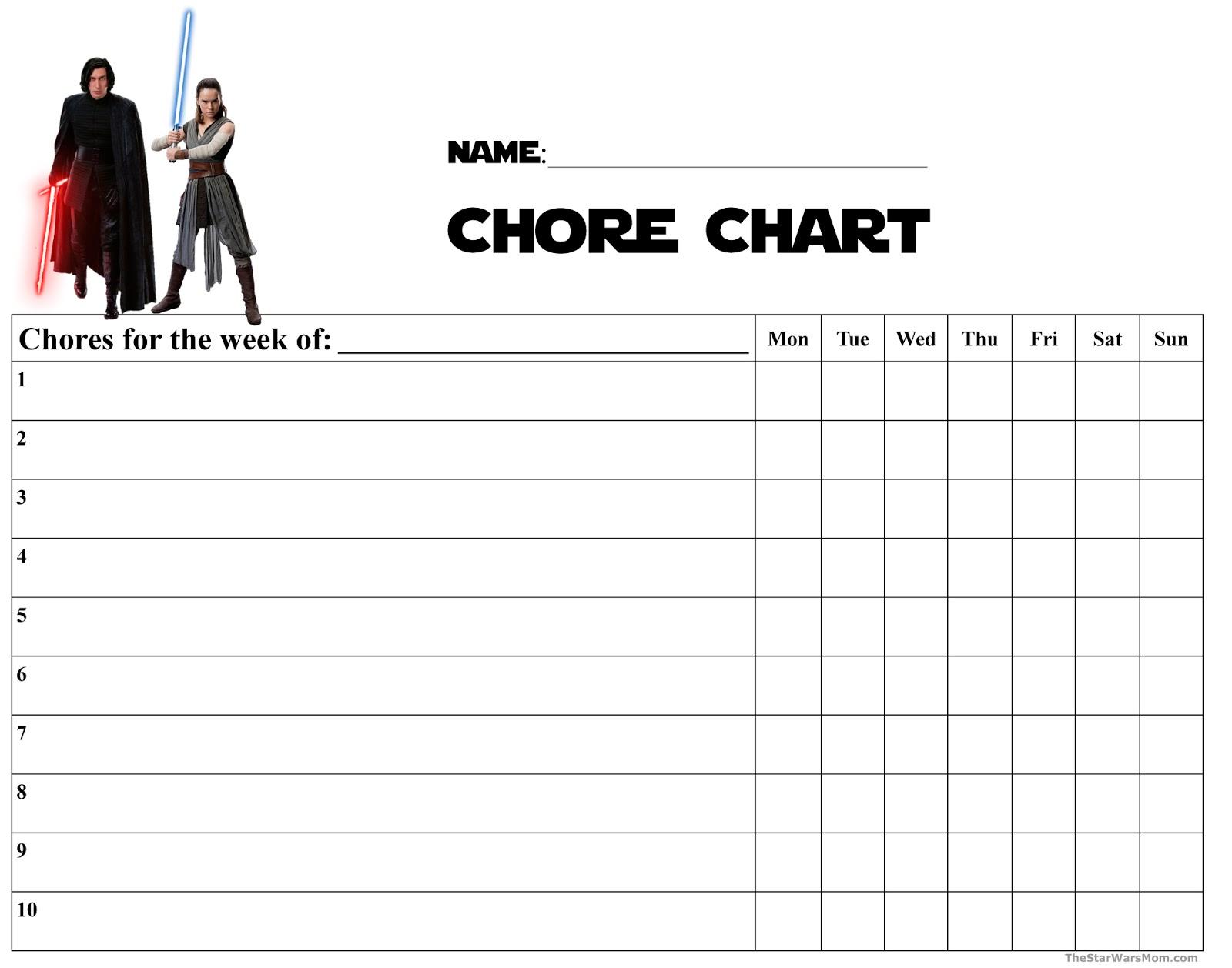Kylo Ren and Rey Chore Chart - Star Wars The Last Jedi ...