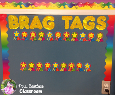 Classroom Reveal - Brag Tag Display
