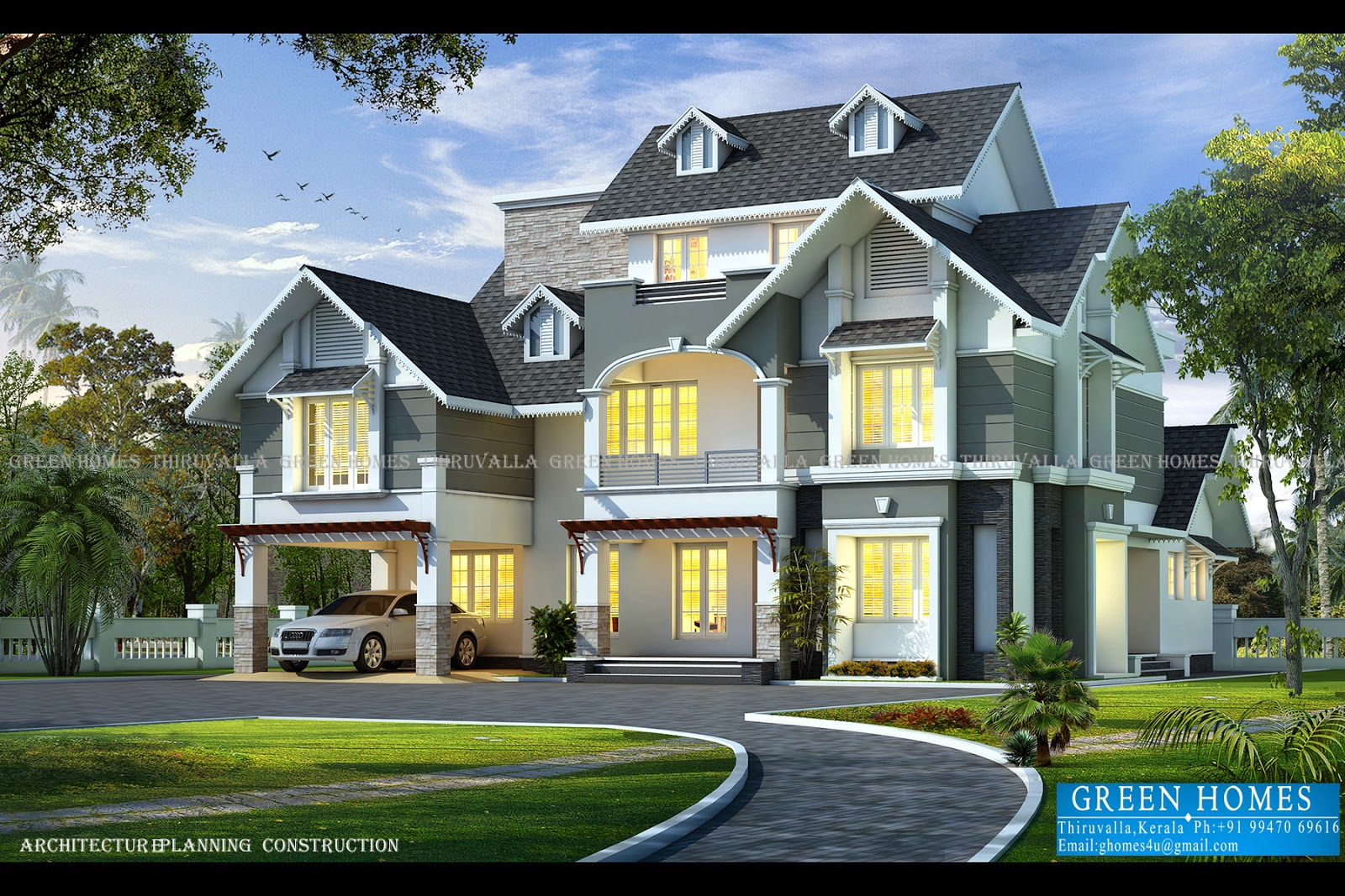 Green homes awesome european style house in 3650 sq feet for Modern kerala style house plans with photos