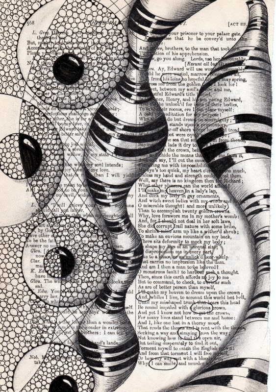 04-I-can-Smile-Jo-Newsham-Zentangle-Drawings-on-Recycled-Vintage-Book-Pages-www-designstack-co