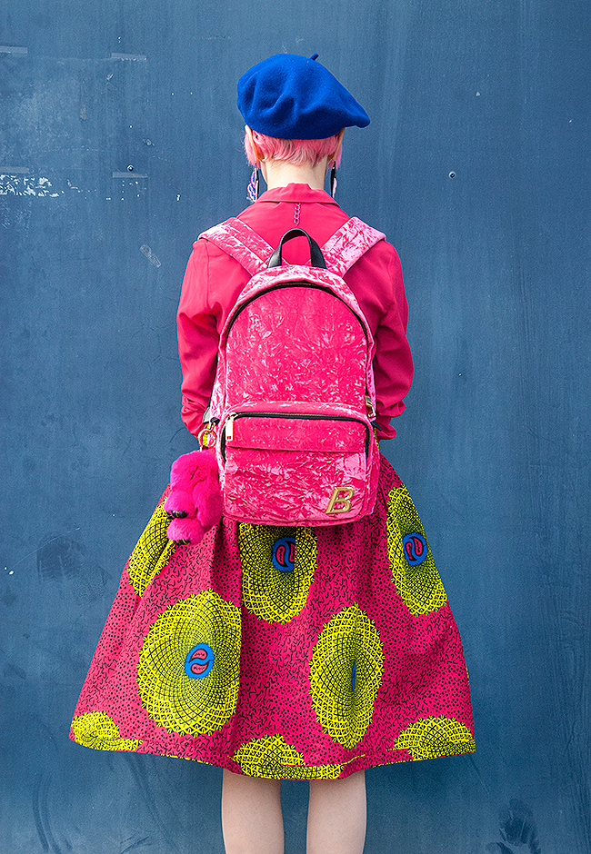 Sara is in Love with… blogger influencer pink hair Zurich Switzerland African Wax Print hangman's bally velvet backpack beret  Sandro flame sneakers neon beret