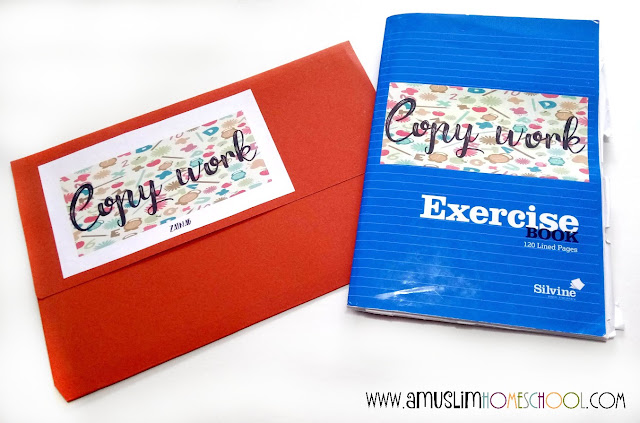 Copywork book and folder for storing work written on different mediums