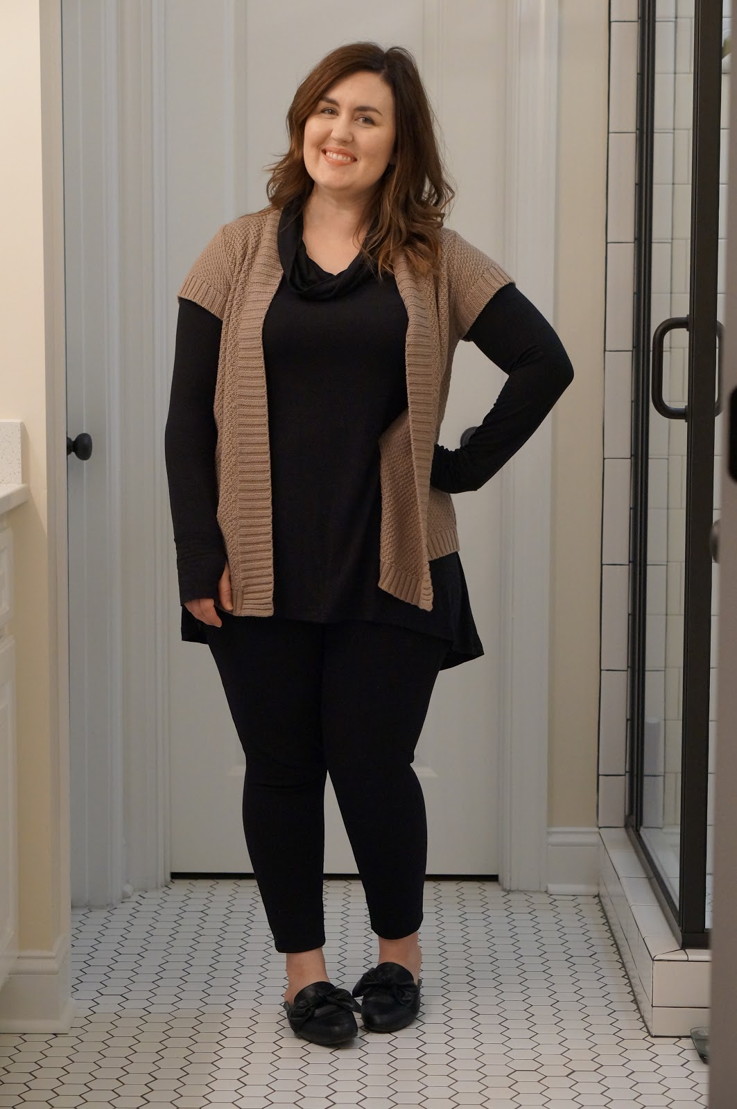 Rebecca Lately Thrifted Fashion Taupe and Black Outfit Mule Bow Flats