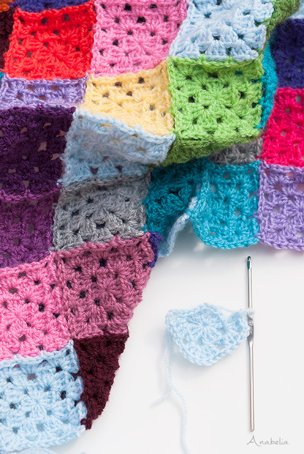 Colorful Chessboard blanket in progress by Anabelia Craft Design