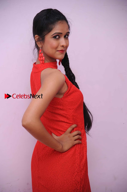 Kannada Actress Chaitra in Red Dress at Damki Damar Movie Audio Release  0002.jpg