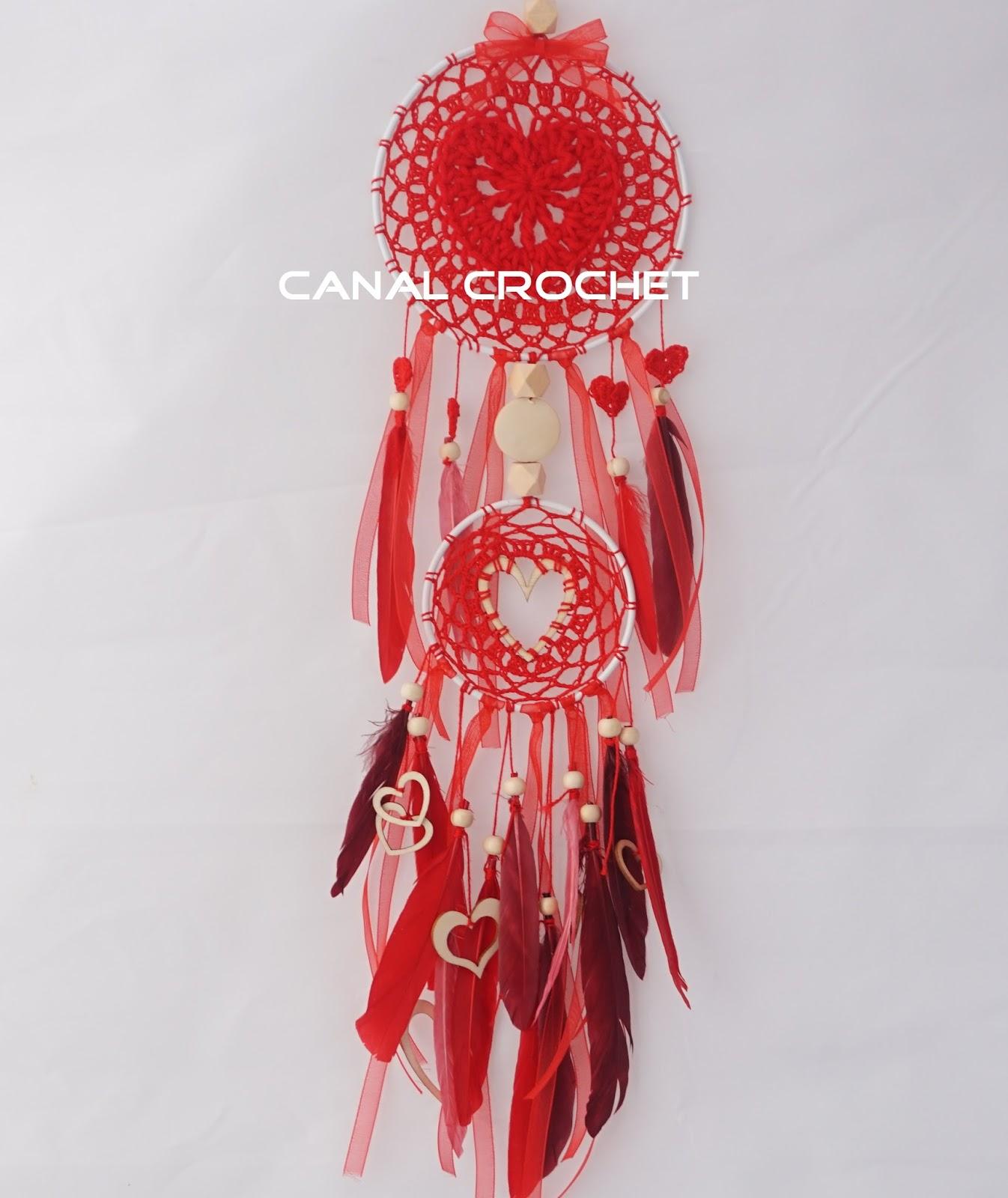 CANAL CROCHET: Atrapasueños a crochet San Valentín tutorial