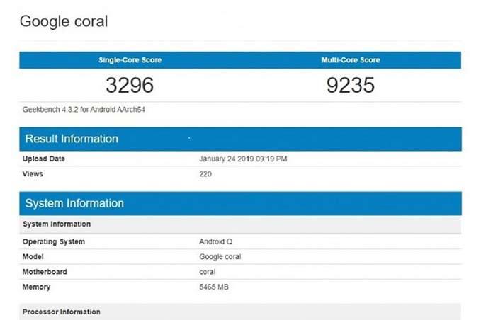 رصد هاتف ذكي من جوجل يحمل إسم Google Coral على منصة Geekbench