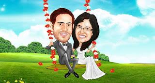 Gambar Karikatur Wedding Lapangan Rumput Pre Wedding