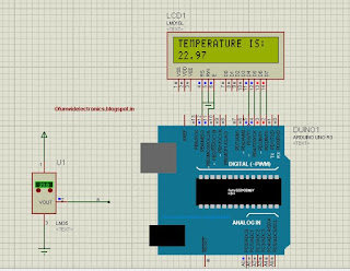 Interfacing temperature sensor with arduino proteus simulation