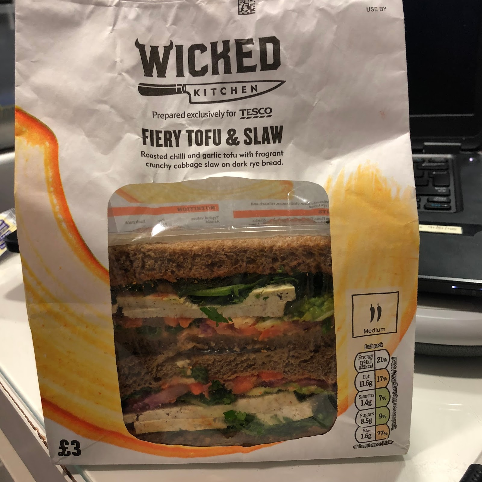 theyre not lying when they say fiery this sammie is warm but i like the spice so i enjoyed it it could do with a bit of seasoning but youll see thats - Wicked Kitchen