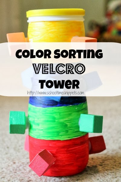 This Color Sorting Velcro Tower is great for little hands and works on a variety of skills like color recognition, counting, and fine motor skills!