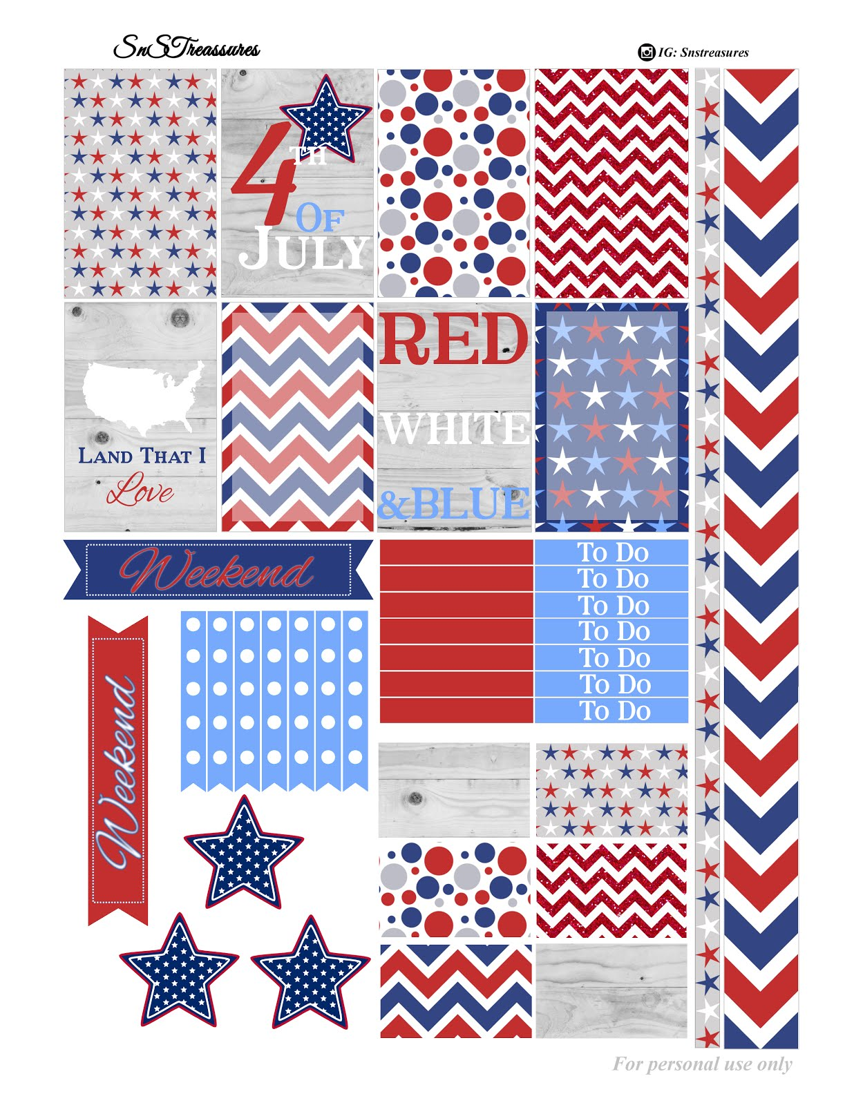 4th Of July Printable Snstreasures