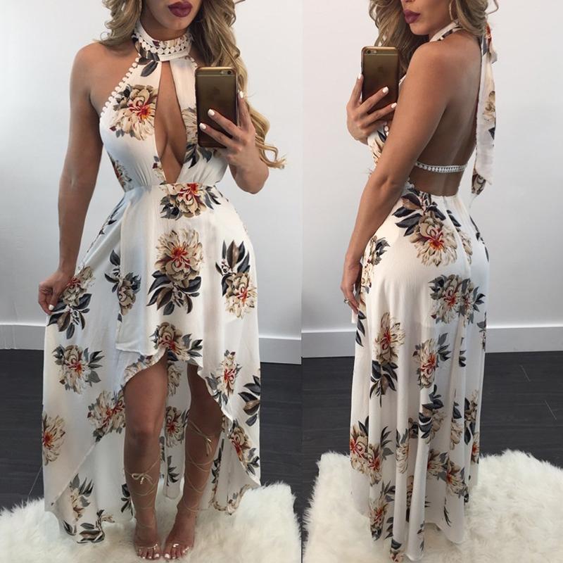 Keyhole Design Halter Bare Back High-low Maxi Dress