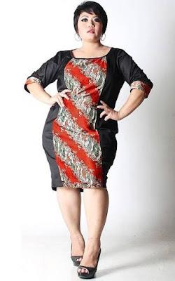 model baju batik wanita gemuk terlihat kurus