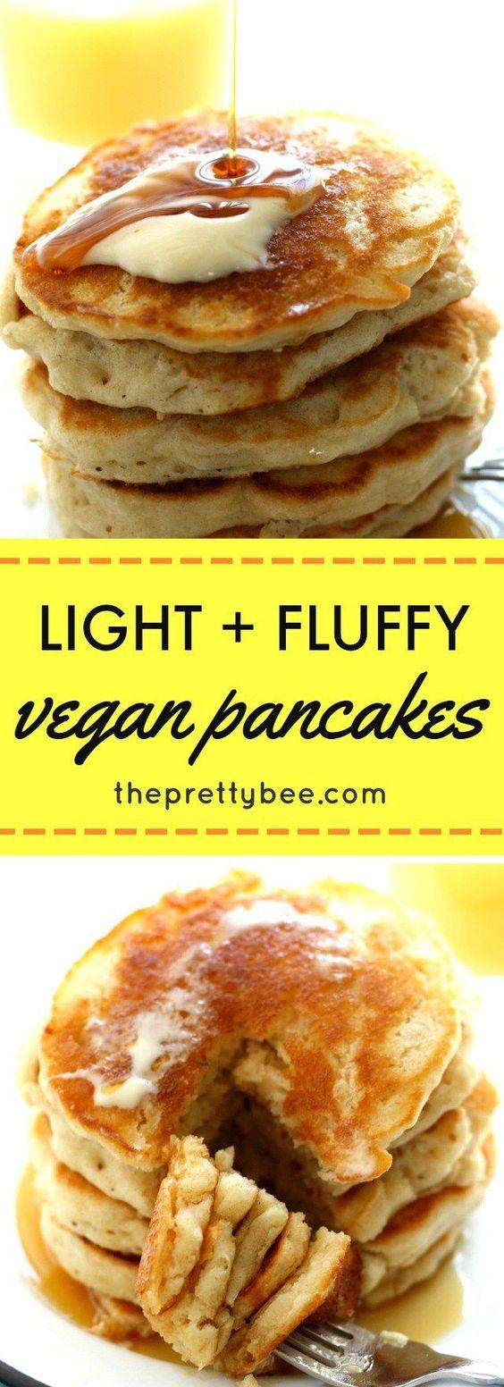 Light And Fluffy Vegan Pancakes #light #fluffy #vegan #veganrecipes #veggies #pancakes #cake #cakerecipes