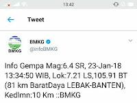 23 Januari 2018 GEMPA DI LEBAK BANTEN MENGGUNCANG JABODETABEK