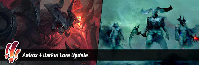 With Aatrox's champion update heading to live in Patch 8.13, his updated  bio and short story, more Darkin stories and art, as well as tweaks to  Varus's bio, ...