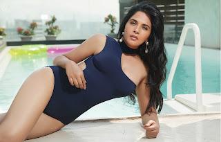 Richa Chadda in Black Swimsuit Spicy Pics April 2017