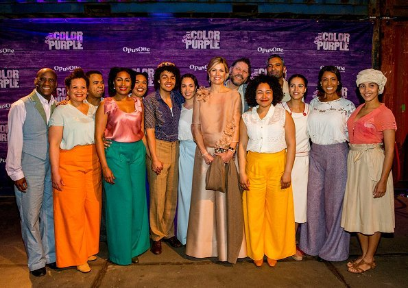 Dutch Queen Maxima attended premiere of The Color Purple Musical, held at NDSM-Loods in Amsterdam. Queen wore Natan trousers and top, jumpsuits