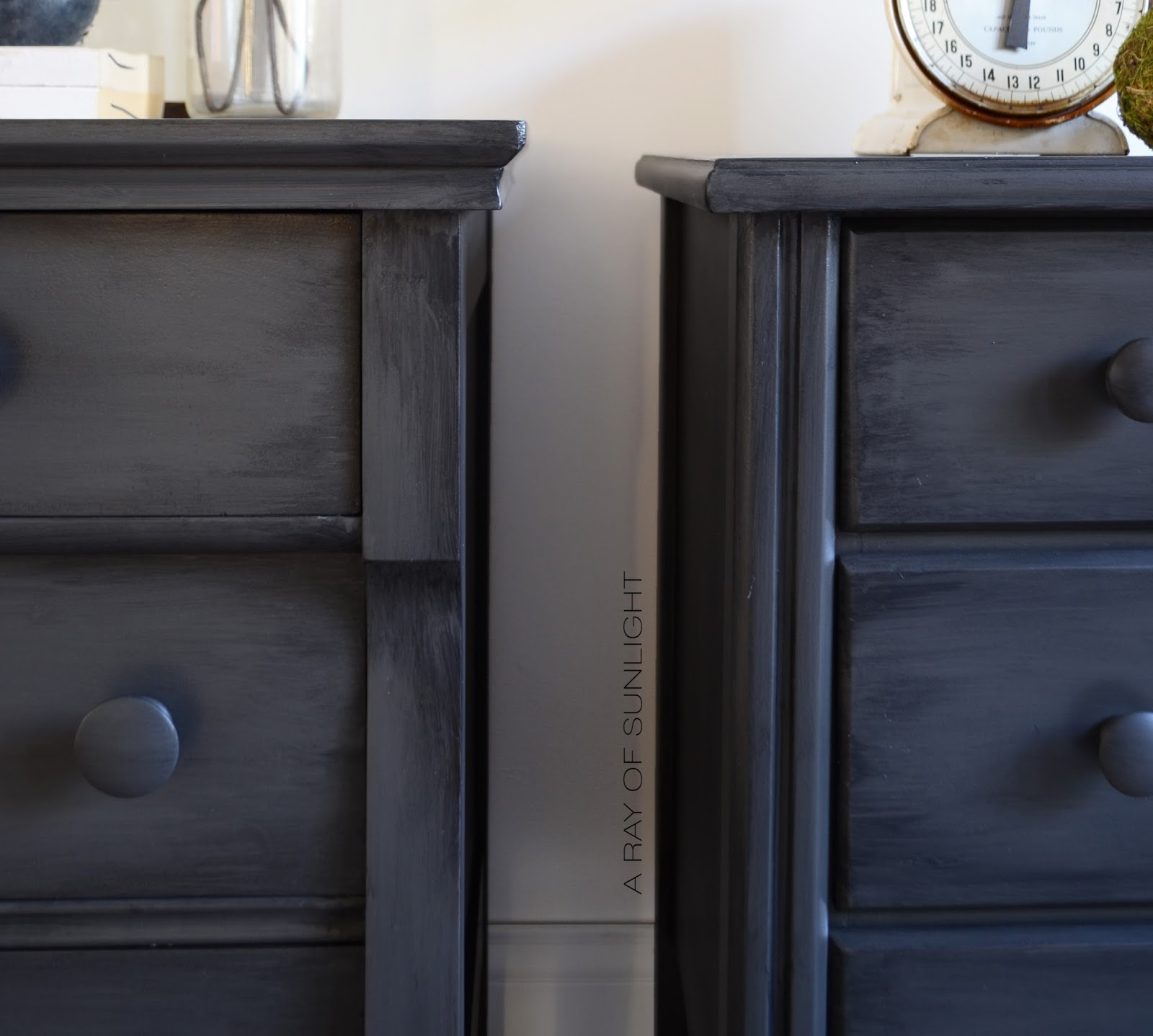 His and hers mismatch grey nightstands or dressers in Urbane Bronze with black antique glazing by A Ray of Sunlight