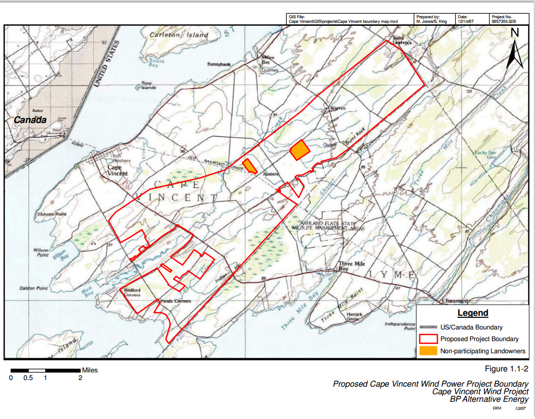 the turbine array plan and boundary maps shown above are from the environmental resource management erm website erm is hosting bp s cape vincent wind
