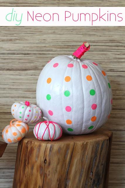 DIY Neon Painted Pumpkins | 5 Ideas for People Who Don't Carve Pumpkins!  #halloween #pumpkins #noncarvepumpkins #paintpumpkins #diy #holiday