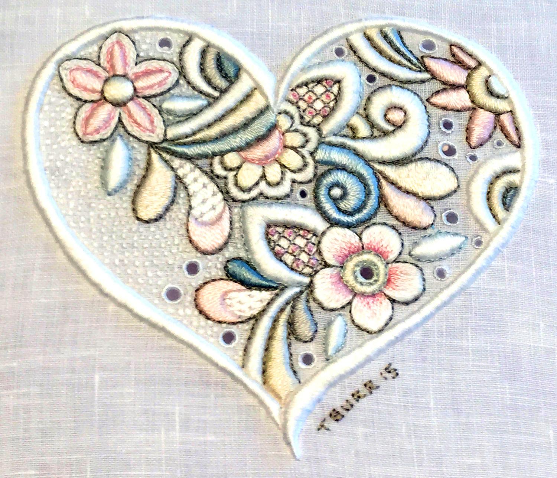 Embroidery zentangle soft colorful blisse design studio