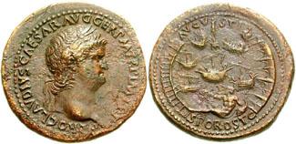 Sestercio del emperador romano Nerón con representación del puerto de Ostia
