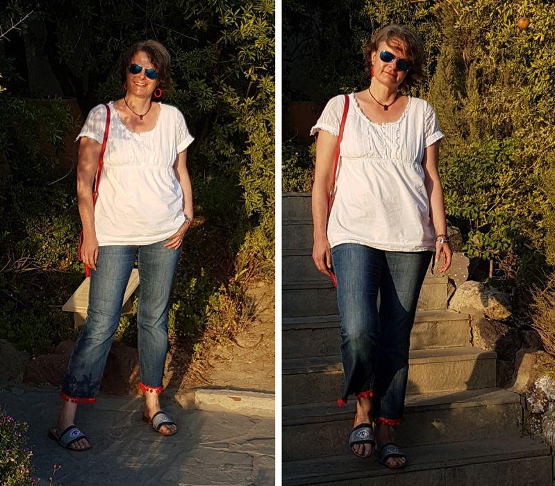 DIY Tunika, cropped Jeans, Pompoms und Jeansschläppchen mit Patches.