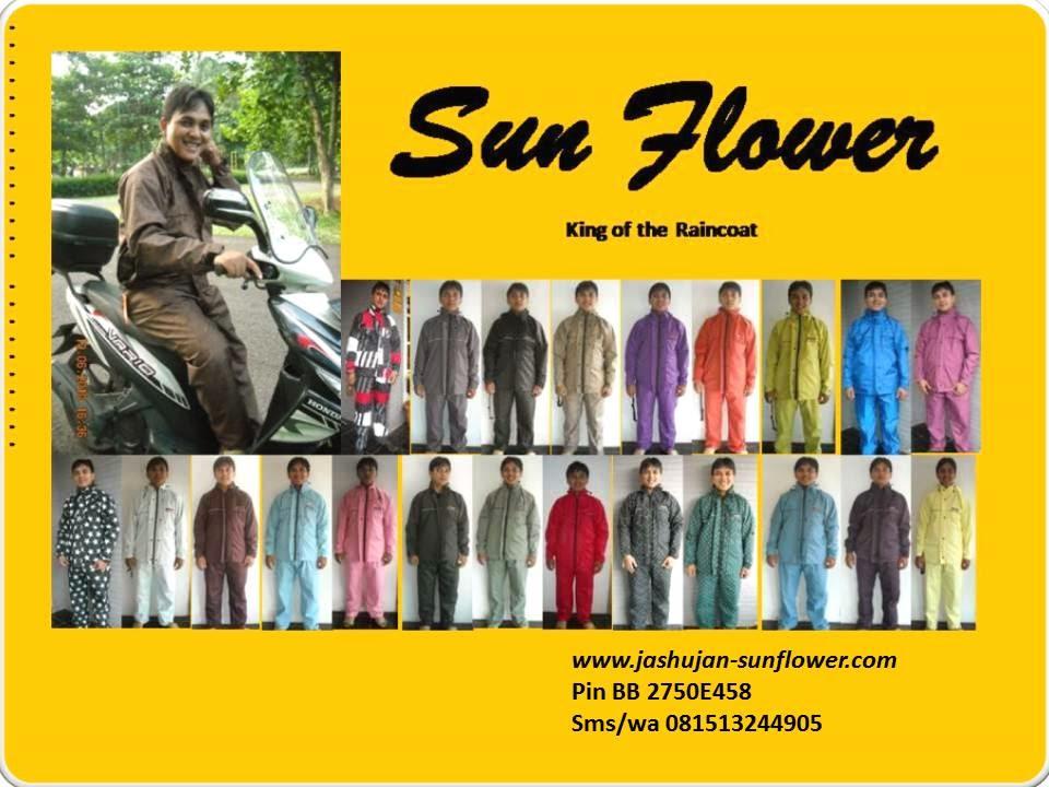 Jaket Jas Hujan Sunflower Dilapisi Furing Berwarna Hitam Dibagian Dalamnya Terdapat Saku Untuk Menyimpan Handpone Pada Bagian Belakang Jaketnya