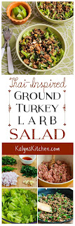Thai-Inspired Turkey Larb Salad with Sriracha, Mint, Cilantro, and Peanuts found on KalynsKitchen.com