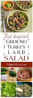 Thai-Inspired Turkey Larb Salad with Sriracha, Mint, Cilantro, and Peanuts found on KalynsKitchen.com