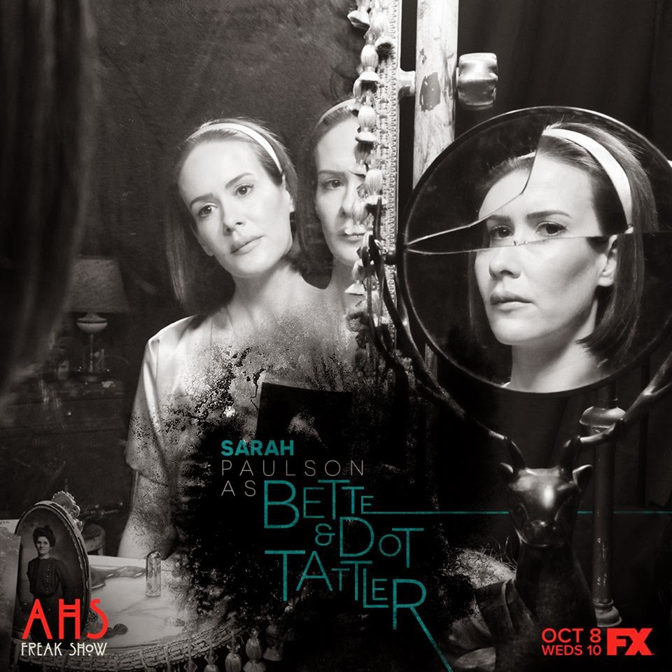 Sarah Paulson as Dot and Bette Tattler the Siamese twin sisters in American Horror Story Freak Show Season 4 Episode 1 Monsters Among Us