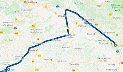Karte Flugahfen Straubing Passau Strecke