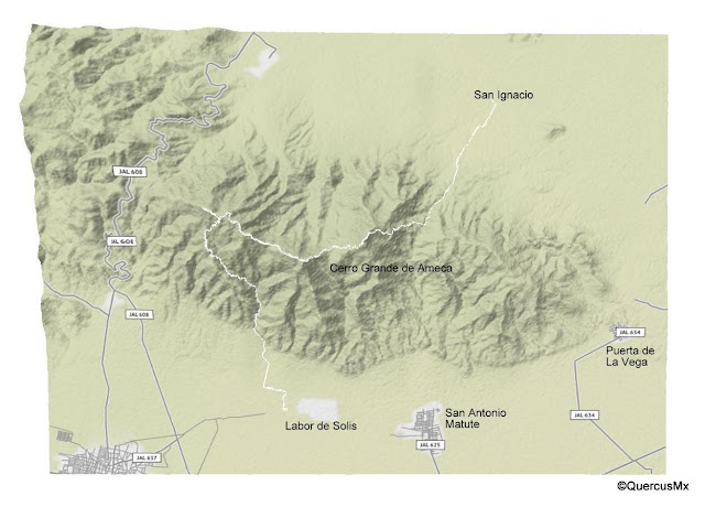 Mapa de la ruta Labor de Solis - Cerro Grande de Ameca - San Ignacio
