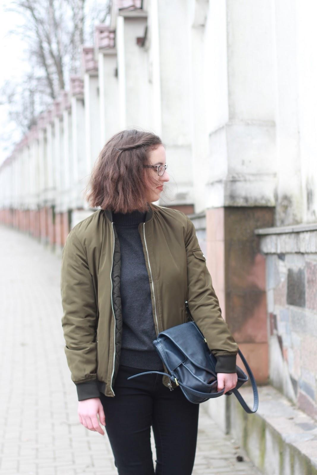 Zara KURTKA BOMBERKA zielona