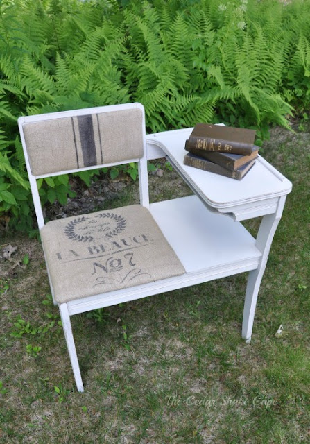 Vintage telephone table makeover