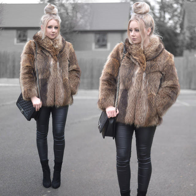 Sammi Jackson - ASOS Faux Fur Coat / OASAP Quilted Flap Bag / Primark Satin Skinny Jeans / Everything5pounds Perspex Heel Sock Boots