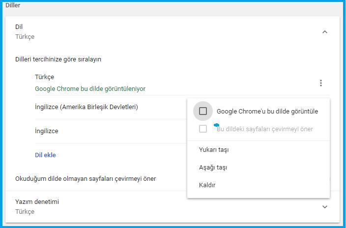 Chrome tarayıcıyı ingilizce dil ile görüntülemek-www.ceofix.com