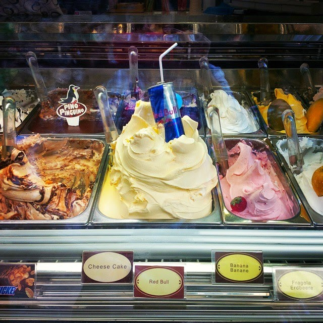 Gelato comes in so many different flavours, including Red Bull as seen in Lazise on Lake Garda