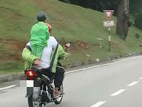 Viral, Foto Anak Dibonceng Ayah Pakai Sepeda Motor